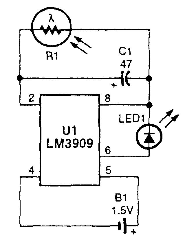 Мерцающий светодиод (LED1)