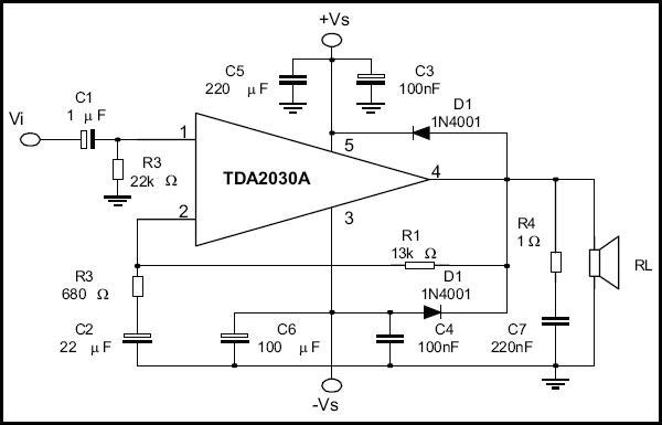 схема включения TDA2030A: