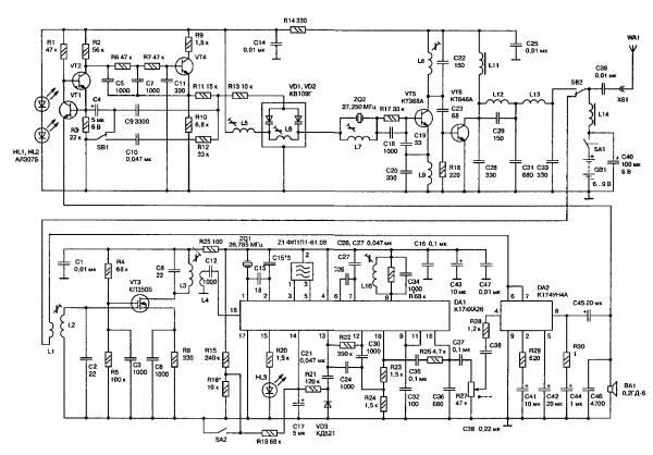 Частота резонатора выбирается ниже рабочей частоты передатчика на 465 кГц.  Рис. 1. С вывода 16 микросхемы DA1...